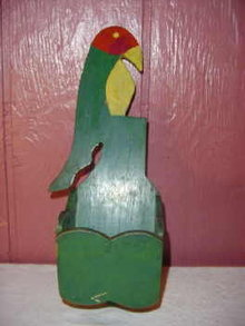 Vintage Wooden Folk Art  Bird Wall Pocket