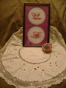 Victorian Style Teacup Picture w/Hand Crocheted Tablecloth