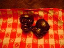 Brown Glaze Pottery Skulls