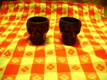 Brown Glaze Pottery Skulls