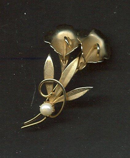 Vintage Gold Vermeil & Pearl Pin & Earring Set