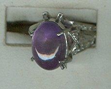 Silvertone Marcasite & Cab Ring