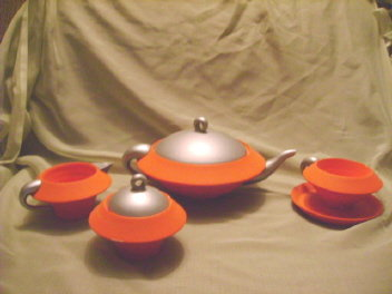 Modern Painted Wood Tea Set