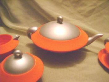 Modern Painted Wood Tea Set
