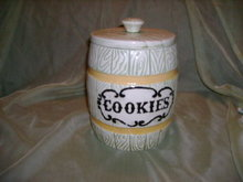 Vintage Ceramic Barrel Cookie Jar