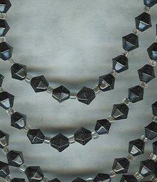 Vintage 6 Strand Black Glass Bead Necklace