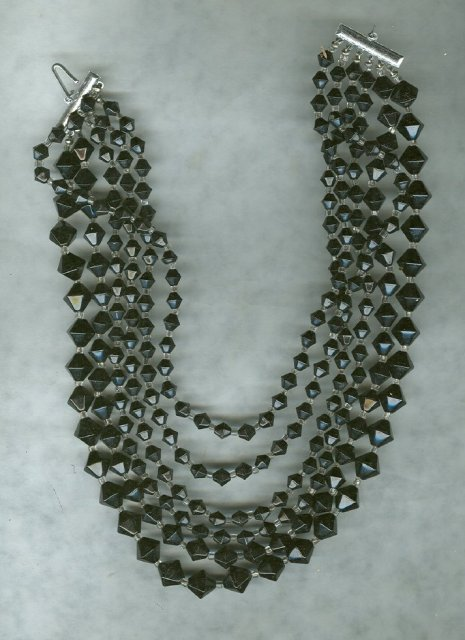 Vintage 6 Strand Black Glass Bead Necklace