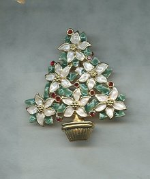 Beautiful Poinsettia Christmas Tree Pin