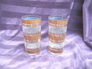 RETRO Vintage Glass Tumbler Set  **9  Pieces** w/Metal Holder