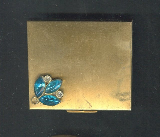 Vintage Goldtone & Rhinestone Compact