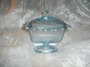 Vintage Blue Glass Covered Candy Dish