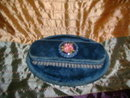 Vintage Velvet Covered Clothes Brush & Tray Set