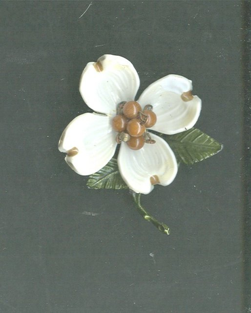 Vintage Enamel Dogwood Flower Pin