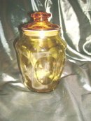 Vintage Amber Glass Cookie Jar