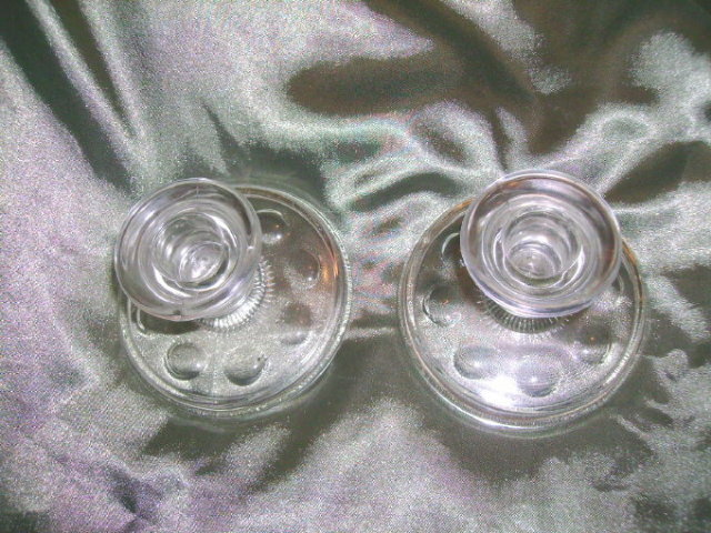 Vintage Glass Candle Holders (Pair)