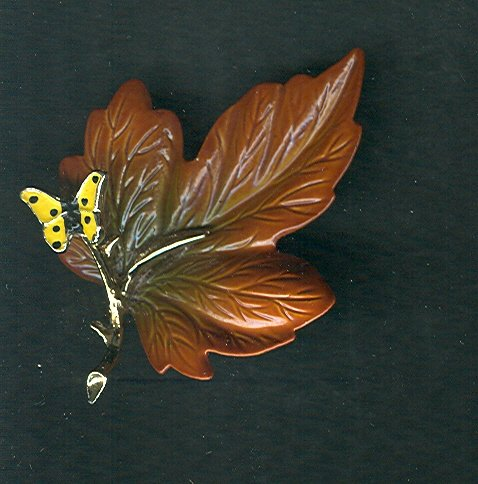 Vintage  Enamel Fall Leaf & Butterfly Brooch