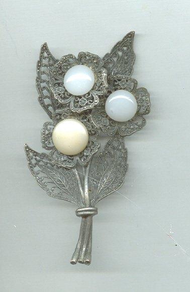Huge Vintage Filagree Floral Brooch