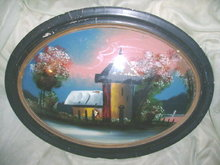 Vintage Reverse Painting on Concave Glass WFrame