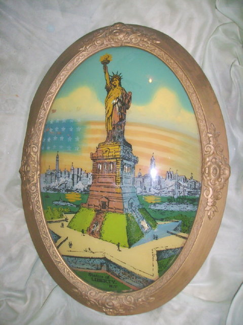 Vintage Reverse Painted Glass Painting of Statue of Liberty