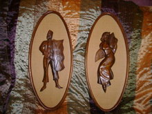 Vintage Figural Wood Carvings w/Frames