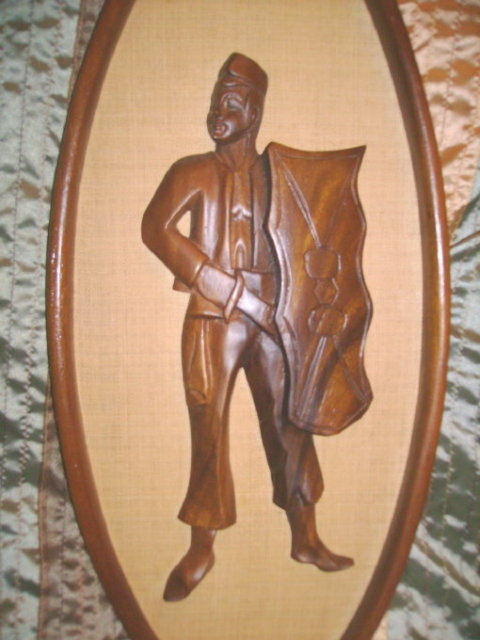 Vintage Figural Wood Carvings w/Frames