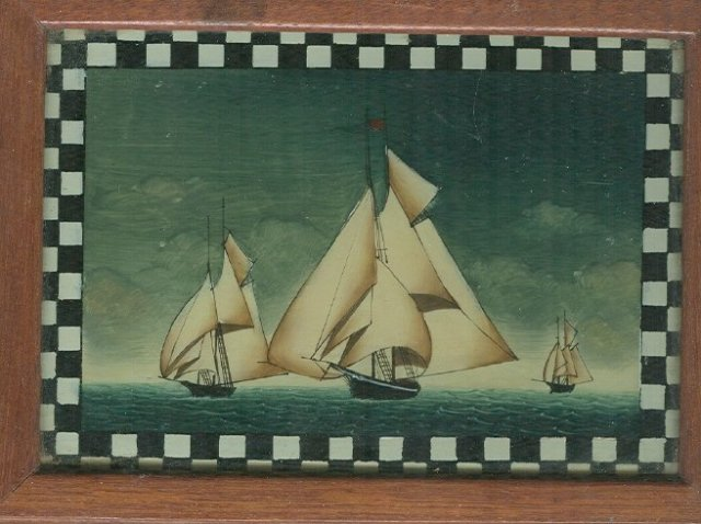 Antique Yacht Race on Reverse Painted Glass