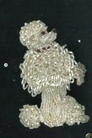 Vintage Hand Beaded Toy Poodle Applique'