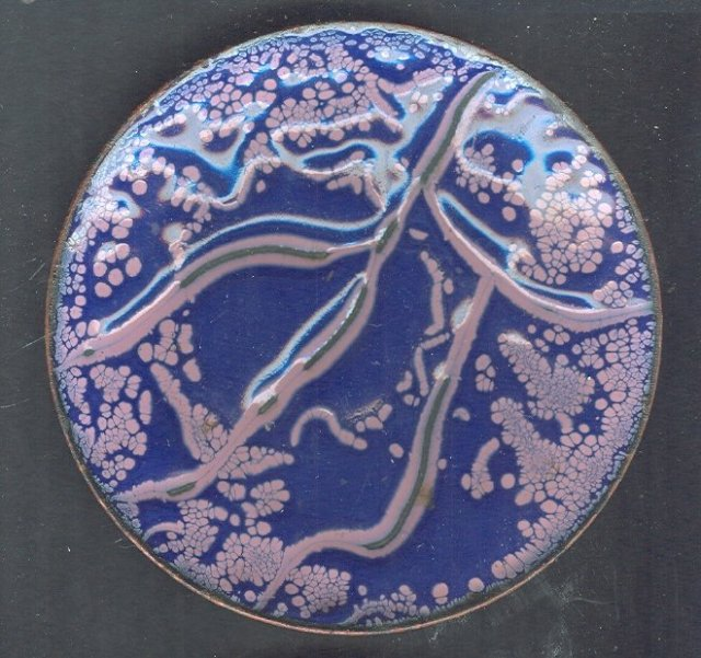 Mid Century Modern PurpleEnamel On Copper Dish