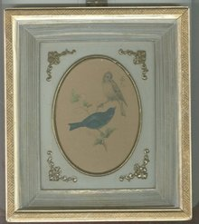 Vintage Blue & Yellow Finch Picture