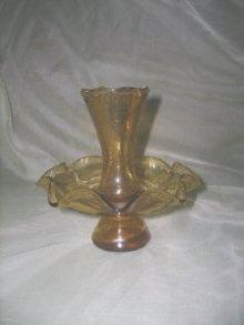Vintage Amber Glass Pedestal Vase