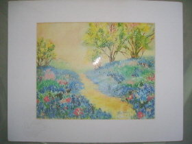 Colorful Blue Bonnet Print Signed Marilyn