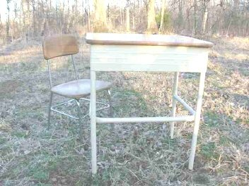 Vintage Children's Heywood Wakefield Wood School Chair & Desk Set
