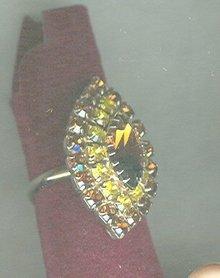 Vintage Amber  Rhinestone Ring