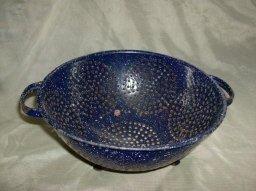 Vintage Blue Enamelware Colander