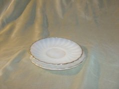 Vintage Fire King White w/Gold Swirl Saucer