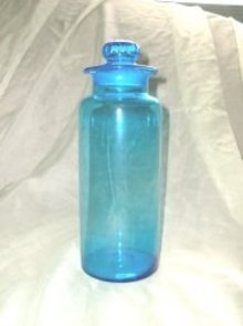 Vintage Blue Glass Canister &/or Jar