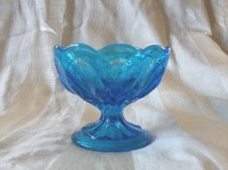 Vintage Blue Glass  Pedestal Dish