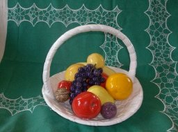 Vintage Large Ceramic Basket  w/ Fruit