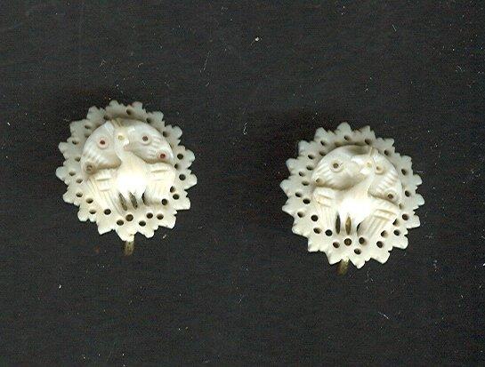 Vintage Carved Ivory Peacock Earrings