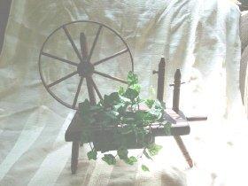 Vintage Wooden Spinning Wheel Planter