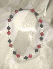 Vintage Black, Red & Clear Beaded Necklace