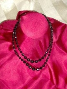 Vintage Black  Faceted Bead Necklace