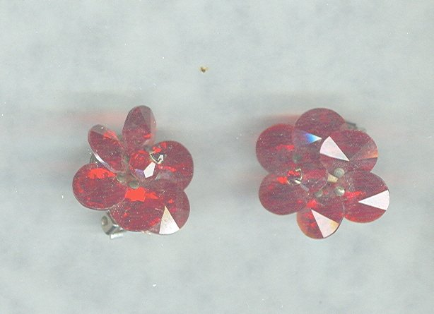 Vintage Red Crystal Earrings.