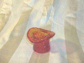 Vintage Amberina Glass Top Hat