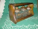 Glass Canister Set  w/Wooden Holder