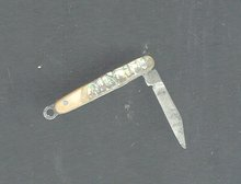 Vintage Miniature Abalone Jack Knife  **BOOK PIECE**
