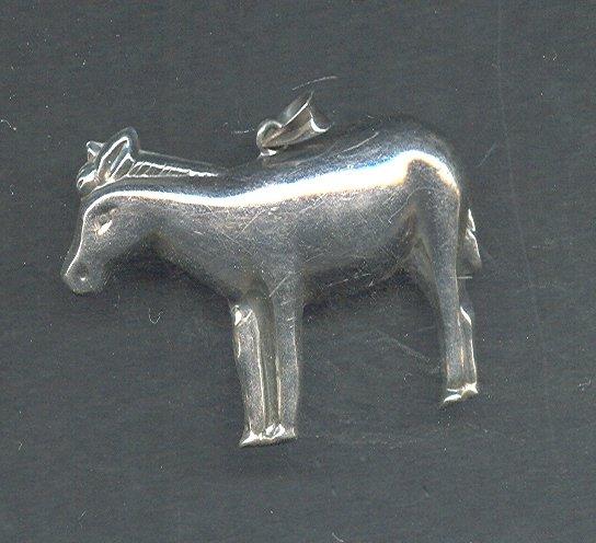 Vintage Silver Donkey Pendant