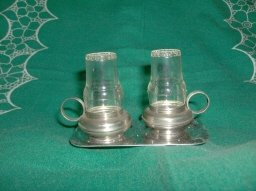 Vintage Tin Lantern Salt & Pepper Shakers w/Holder