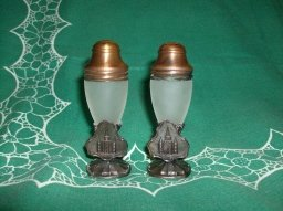 Vintage Copper Cathedral Salt & Pepper Shakers