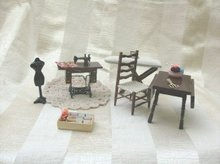 Doll Furniture Sewing Room Set w/Treadle Sewing Machine 6 Pieces